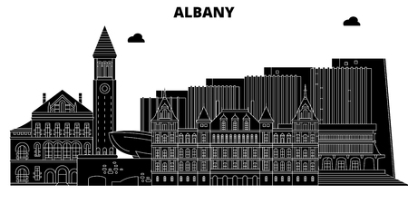 Albany,United States, vector skyline, travel illustration landmarks sights