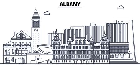 Albany , United States, outline travel skyline vector illustration