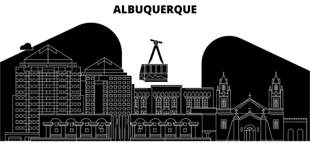 Albuquerque , United States, outline travel skyline vector illustration
