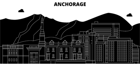 Anchorage , United States, outline travel skyline vector illustration