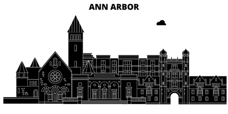 Ann Arbor , United States, outline travel skyline vector illustration.