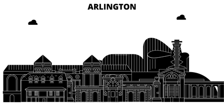 Arlington , United States, outline travel skyline vector illustration