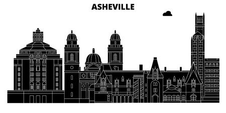 Asheville , United States, outline travel skyline vector illustration