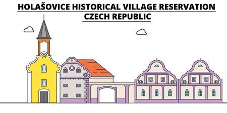 Czech Republic , Holasovice, flat landmarks vector illustration. Czech Republic , Holasovice line city with famous travel sights, design skyline. Illustration