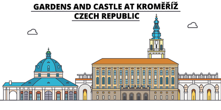 Czech Republic , Kromeriz, Gardens And Castle, flat landmarks vector illustration. Czech Republic , Kromeriz, Gardens And Castle line city with famous travel sights, design skyline.