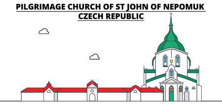 Czech Republic , Pilgrimage Church Of St John Of Nepomuk, flat landmarks vector illustration. Czech Republic , Pilgrimage Church Of St John Of Nepomuk line city with famous travel sights, design skyline. Illusztráció