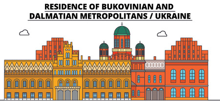 Ukraine , Bukovinian And Dalmatian Metropolitans, flat landmarks vector illustration. Ukraine , Bukovinian And Dalmatian Metropolitans line city with famous travel sights, design skyline. Stock Illustratie