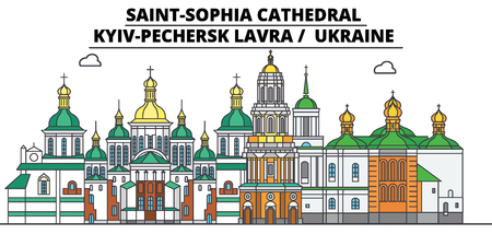 Ukraine , Kyiv,Pechersk Lavra, flat landmarks vector illustration. Ukraine , Kyiv,Pechersk Lavra line city with famous travel sights, design skyline.