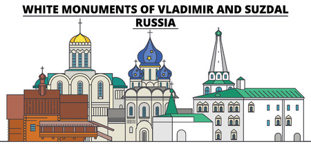 White Monuments Of Vladimir And Suzdal - Russia , flat landmarks vector illustration. White Monuments Of Vladimir And Suzdal - Russia  line city with famous travel sights, design skyline.