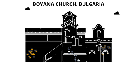 Bulgaria , Boyana Church, flat landmarks vector illustration. Bulgaria , Boyana Church line city with famous travel sights, design skyline.