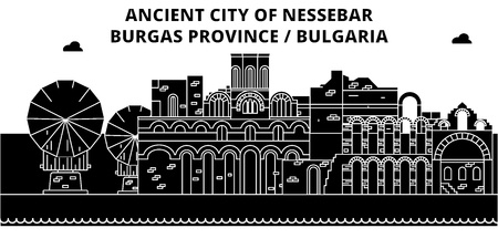 Bulgaria , Burgas, Nessebar  , flat landmarks vector illustration. Bulgaria , Burgas, Nessebar   line city with famous travel sights, design skyline.