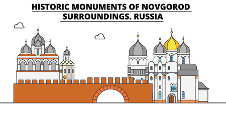 Russia , Novgorod, flat landmarks vector illustration. Russia , Novgorod line city with famous travel sights, design skyline.