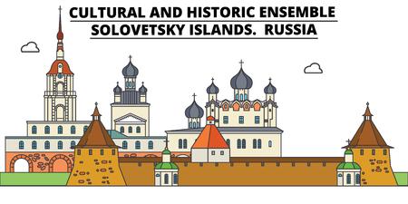 Russland, Solovetsky-Inseln, flache Sehenswürdigkeiten-Vektor-Illustration. Russland, Solovetsky-Inseln säumen die Stadt mit berühmten Reisesehenswürdigkeiten, Design-Skylinen.