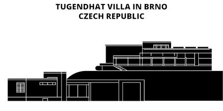Tugendhat Villa In Brno , Czech Republic, flat landmarks vector illustration. Tugendhat Villa In Brno , Czech Republic line city with famous travel sights, design skyline.