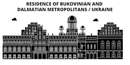 Ukraine , Bukovinian And Dalmatian Metropolitans, flat landmarks vector illustration. Ukraine , Bukovinian And Dalmatian Metropolitans line city with famous travel sights, design skyline. Illustration