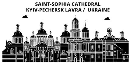 Ukraine , Kyiv,Pechersk Lavra, flat landmarks vector illustration. Ukraine , Kyiv,Pechersk Lavra line city with famous travel sights, design skyline.