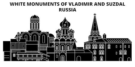 Weiße Denkmäler von Wladimir und Susdal - Russland, flache Wahrzeichen Vektor-Illustration. Weiße Denkmäler von Wladimir und Susdal - Russland-Linie mit berühmten Reisesehenswürdigkeiten, Design-Skyline.