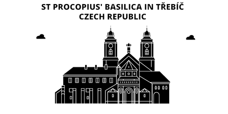 Czech Republic , Trebic, St Procopius Basilica, flat landmarks vector illustration. Czech Republic , Trebic, St Procopius Basilica line city with famous travel sights, design skyline.