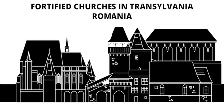 Fortified Churches In Transylvania ,  Romania, flat landmarks vector illustration. Fortified Churches In Transylvania ,  Romania line city with famous travel sights, design skyline. Иллюстрация