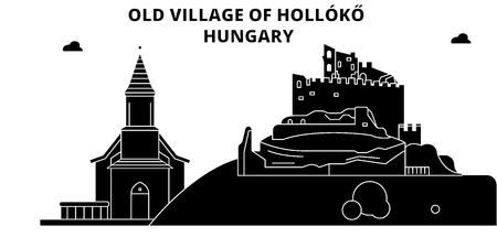 Hungary , Holloko, Old Village, flat landmarks vector illustration. Hungary , Holloko, Old Village line city with famous travel sights, design skyline.
