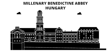 Hungary , Millenary Benedictine Abbey, flat landmarks vector illustration. Hungary , Millenary Benedictine Abbey line city with famous travel sights, design skyline.