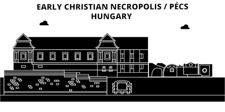 Hungary , Pecs, Early Christian Necropolis , flat landmarks vector illustration. Hungary , Pecs, Early Christian Necropolis  line city with famous travel sights, design skyline.