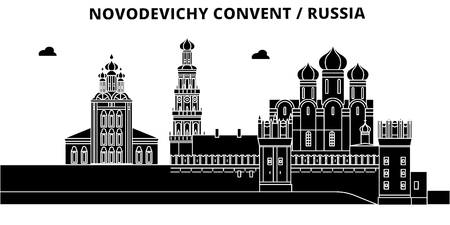 Russia, Moscow, Novodevichy Convent, flat landmarks vector illustration. Russia, Moscow, Novodevichy Convent line city with famous travel sights, design skyline.