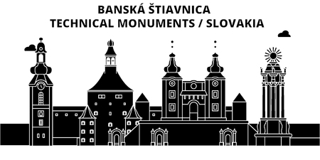 Slovakia , Banska Stiavnica, flat landmarks vector illustration. Slovakia , Banska Stiavnica line city with famous travel sights, design skyline.