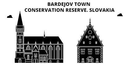 Slovakia , Bardejov Town, Conservation Reserve, flat landmarks vector illustration. Slovakia , Bardejov Town, Conservation Reserve line city with famous travel sights, design skyline.