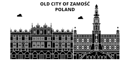 Poland , Zamosc, flat landmarks vector illustration. Poland , Zamosc line city with famous travel sights, design skyline. Çizim