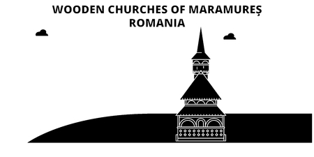 Romania , Maramures, Wooden Churches, flat landmarks vector illustration. Romania , Maramures, Wooden Churches line city with famous travel sights, design skyline.