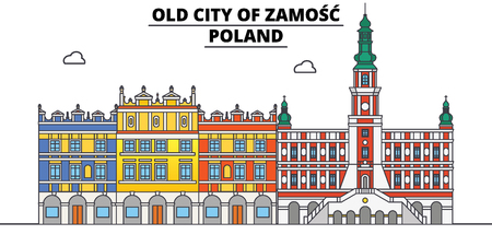 Poland , Zamosc, flat landmarks vector illustration. Poland , Zamosc line city with famous travel sights, design skyline.  イラスト・ベクター素材