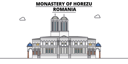 Romania , Horezu Monastery, flat landmarks vector illustration. Romania , Horezu Monastery line city with famous travel sights, design skyline.