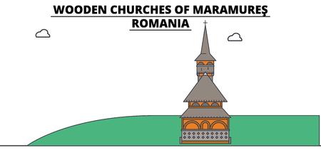 Rumania, Maramures, iglesias de madera, ilustración de vector de hitos planos. Rumania, Maramures, Iglesias de madera bordean la ciudad con famosos lugares turísticos, horizonte de diseño. Ilustración de vector