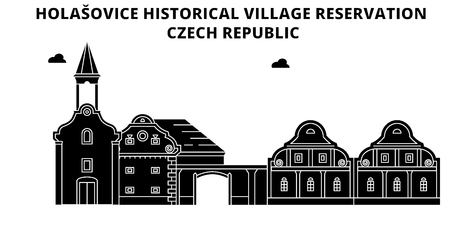 Czech Republic , Holasovice, flat landmarks vector illustration. Czech Republic , Holasovice line city with famous travel sights, design skyline. 向量圖像