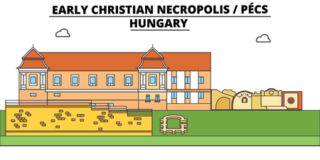 Hungary , Pecs, Early Christian Necropolis , flat landmarks vector illustration. Hungary , Pecs, Early Christian Necropolis  line city with famous travel sights, design skyline.