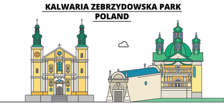 Poland , Kalwaria Zebrzydowska Park, flat landmarks vector illustration. Poland , Kalwaria Zebrzydowska Park line city with famous travel sights, design skyline.  イラスト・ベクター素材