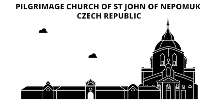 Czech Republic , Pilgrimage Church Of St John Of Nepomuk, flat landmarks vector illustration. Czech Republic , Pilgrimage Church Of St John Of Nepomuk line city with famous travel sights, design skyline. Stock Illustratie