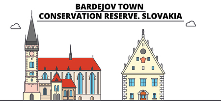Slovakia , Bardejov Town, Conservation Reserve, flat landmarks vector illustration. Slovakia , Bardejov Town, Conservation Reserve line city with famous travel sights, design skyline.