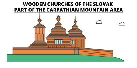Slovakia , Wooden Churches In The Carpathian Mountain Area, flat landmarks vector illustration. Slovakia , Wooden Churches In The Carpathian Mountain Area line city with famous travel sights, design skyline.