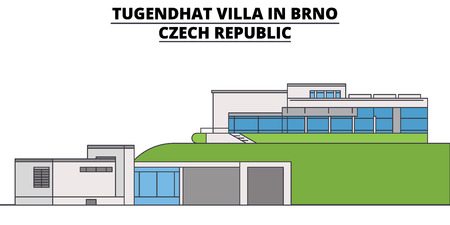 Tugendhat Villa In Brno , Czech Republic, flat landmarks vector illustration. Tugendhat Villa In Brno , Czech Republic line city with famous travel sights, design skyline.