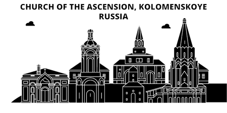 Russia , Kolomenskoye, Church Of The Ascension, flat landmarks vector illustration. Russia , Kolomenskoye, Church Of The Ascension line city with famous travel sights, design skyline.