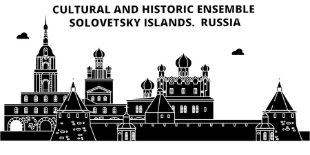 Russia , Solovetsky Islands, flat landmarks vector illustration. Russia , Solovetsky Islands line city with famous travel sights, design skyline.