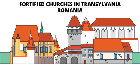 Fortified Churches In Transylvania ,  Romania, flat landmarks vector illustration. Fortified Churches In Transylvania ,  Romania line city with famous travel sights, design skyline. 矢量图像
