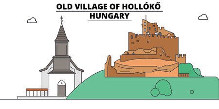 Hungary , Holloko, Old Village, flat landmarks vector illustration. Hungary , Holloko, Old Village line city with famous travel sights, design skyline.