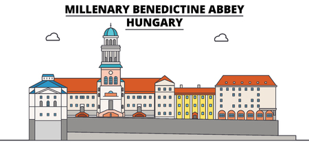 Hungary , Millenary Benedictine Abbey, flat landmarks vector illustration. Hungary , Millenary Benedictine Abbey line city with famous travel sights, design skyline.