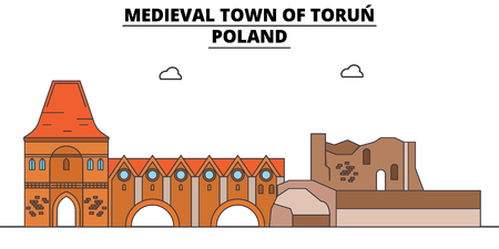 Poland , Torun, flat landmarks vector illustration. Poland , Torun line city with famous travel sights, design skyline. Illustration