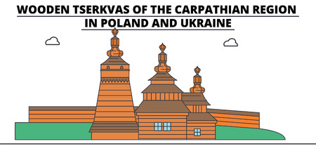 Poland , Wooden Churches In The Carpathian Mountain Area, flat landmarks vector illustration. Poland , Wooden Churches In The Carpathian Mountain Area line city with famous travel sights, design skyline. 向量圖像