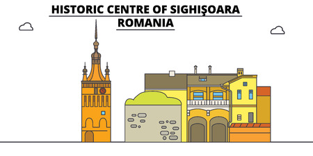 Romania , Sighisoara, flat landmarks vector illustration. Romania , Sighisoara line city with famous travel sights, design skyline.
