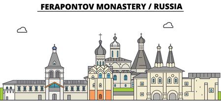Russia , Vologda, Ferapontov Monastery, flat landmarks vector illustration. Russia , Vologda, Ferapontov Monastery line city with famous travel sights, design skyline. Illustration
